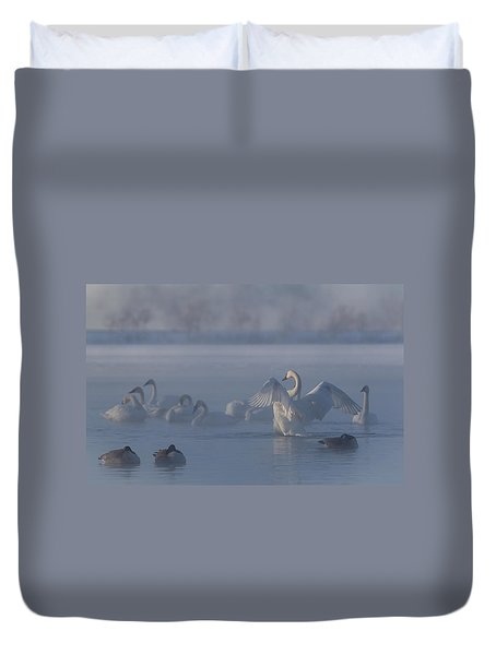 Swan Showing Off Duvet Cover by Patti Deters