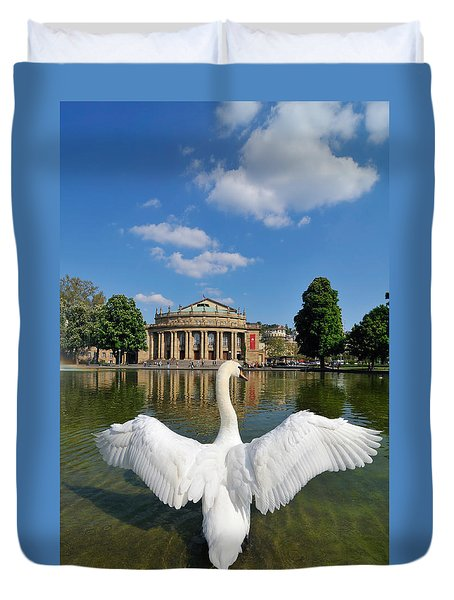Swan Spreads Wings In Front Of State Theatre Stuttgart Germany Duvet Cover by Matthias Hauser