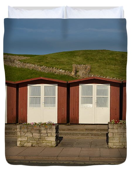 Swanage Beach Huts Duvet Cover by Linsey Williams