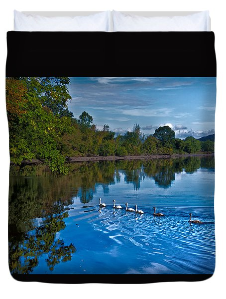 Swanny River Duvet Cover by Karol Livote