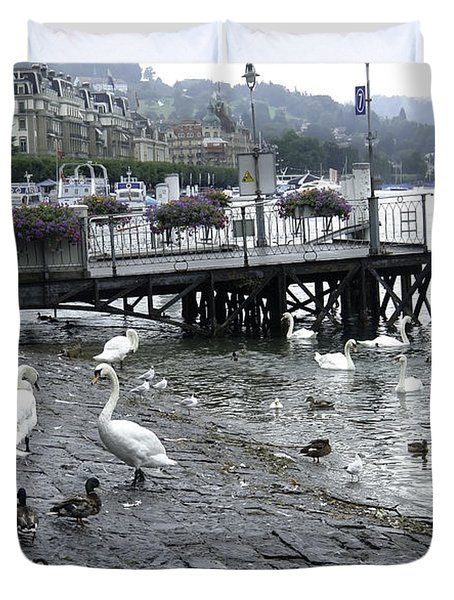 Swans And Ducks In Lake Lucerne In Switzerland Duvet Cover by Ashish Agarwal