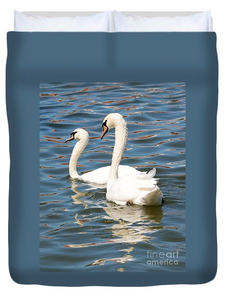 Swans And Swirls Duvet Cover by Carol Groenen