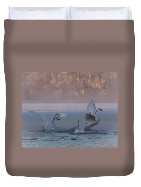 Swans Chasing Duvet Cover by Patti Deters