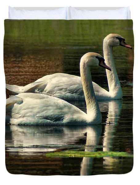 Swans Cruising Duvet Cover by Rick Friedle