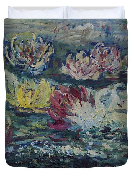 Duvet Cover featuring the painting Swans In Lilies  by Avonelle Kelsey