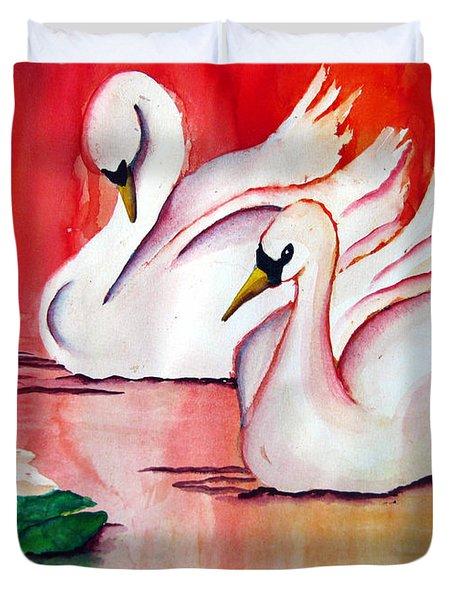 Swans In Love Duvet Cover