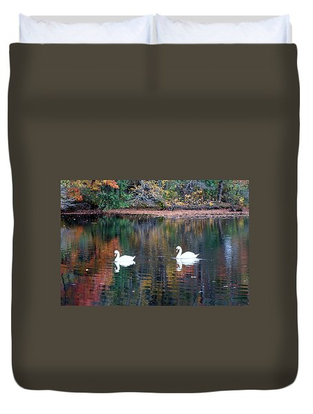 Duvet Cover featuring the photograph Swans by Karen Silvestri
