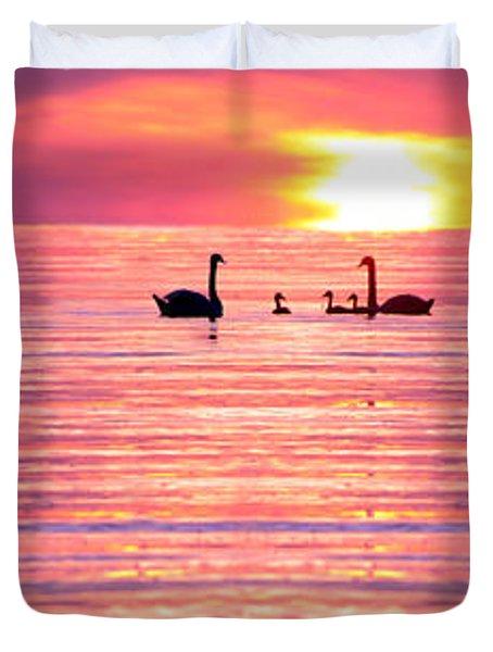 Swans On The Lake Duvet Cover by Jon Neidert