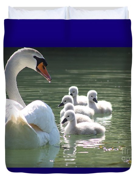 Swans  Duvet Cover by Rogerio Mariani