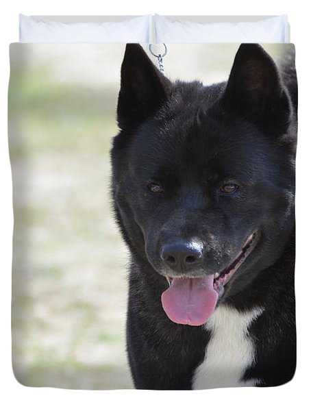 Sweet Akita Dog Duvet Cover by DejaVu Designs