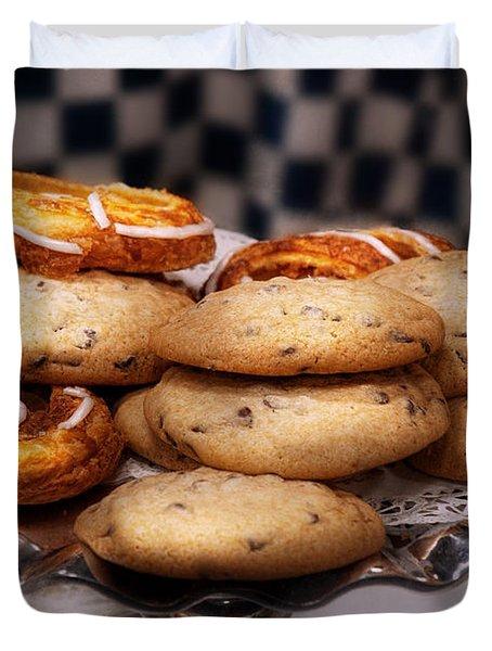 Sweet - Cookies - Cookies And Danish Duvet Cover by Mike Savad