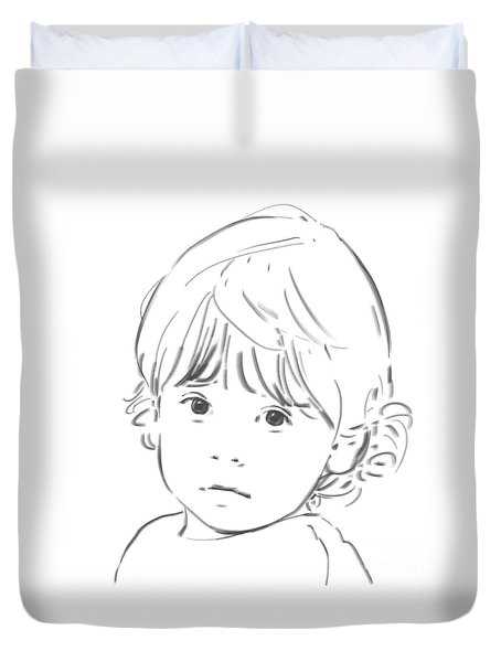 Duvet Cover featuring the drawing Sweet Girl by Olimpia - Hinamatsuri Barbu