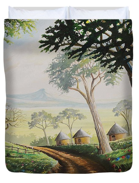 Duvet Cover featuring the painting Sweet Home by Anthony Mwangi