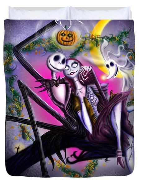 Sweet Loving Dreams In Halloween Night Duvet Cover