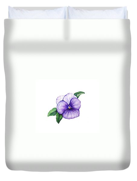 Duvet Cover featuring the painting Sweet Pansy by Heidi Kriel