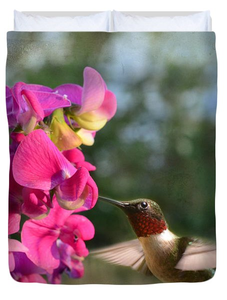 Sweet Pea Hummingbird Duvet Cover by Debbie Portwood