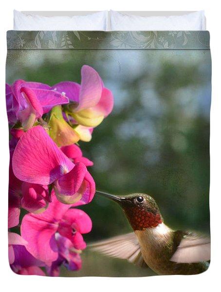 Sweet Pea Hummingbird IIi Duvet Cover by Debbie Portwood