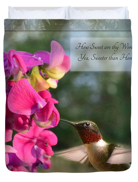 Sweet Pea Hummingbird Iv With Verse Duvet Cover by Debbie Portwood