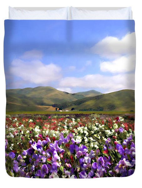 Sweet Peas Galore Duvet Cover