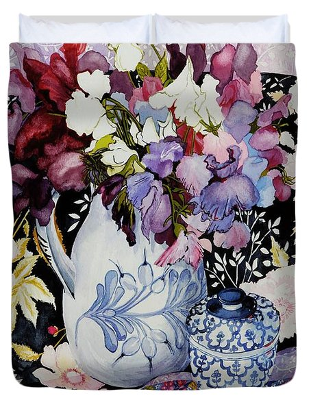 Sweet Peas In A Blue And White Jug With Blue And White Pot And Textiles  Duvet Cover by Joan Thewsey
