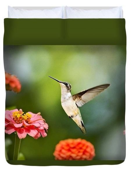 Duvet Cover featuring the photograph Sweet Promise Hummingbird by Christina Rollo