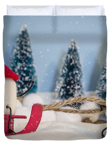 Sweet Sleigh Ride Duvet Cover by Heather Applegate