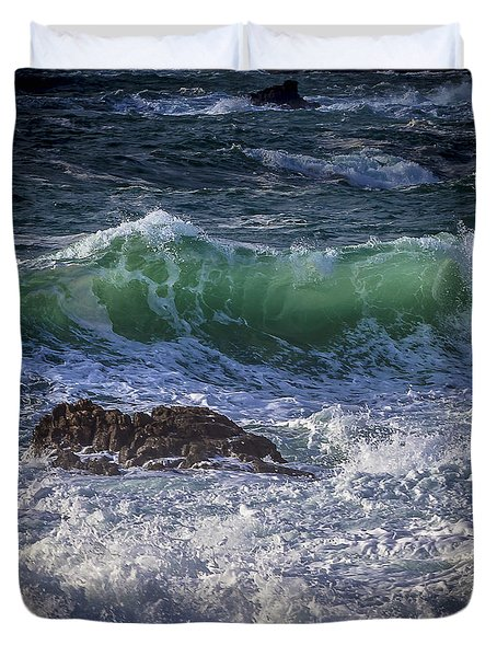 Swells In Doninos Beach Galicia Spain Duvet Cover