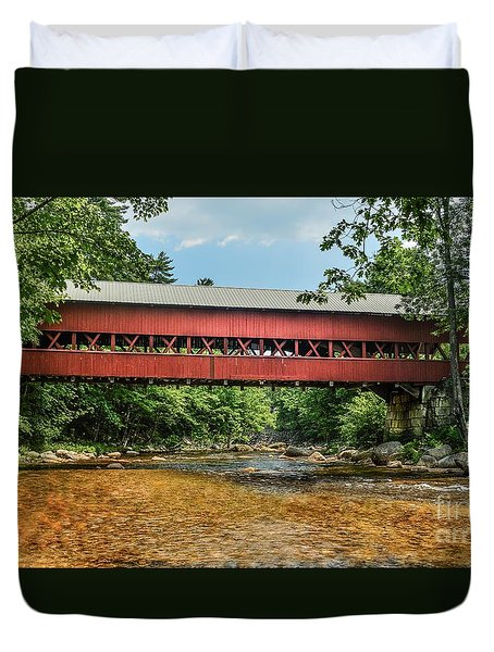 Duvet Cover featuring the photograph Swift River Covered Bridge Hew Hampshire by Debbie Green