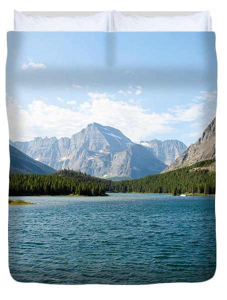 Swiftcurrent Lake Duvet Cover by John M Bailey