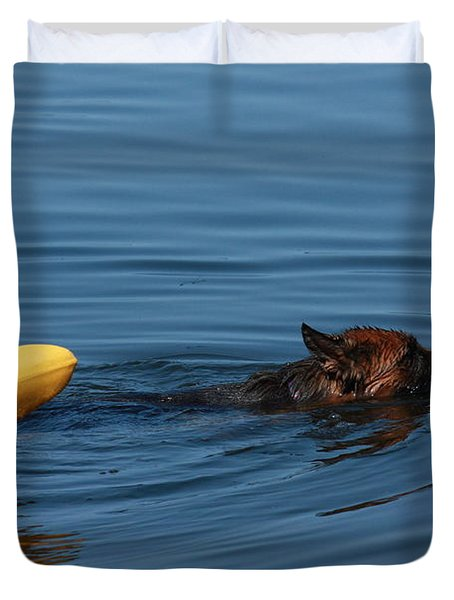 Swimming Anna B Duvet Cover by Pat Purdy