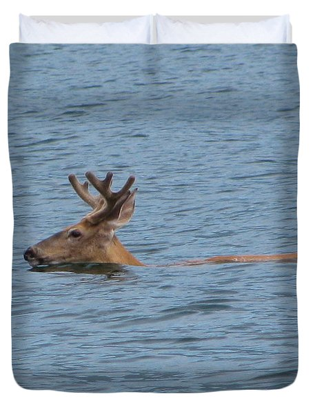 Swimming Deer Duvet Cover by Leone Lund