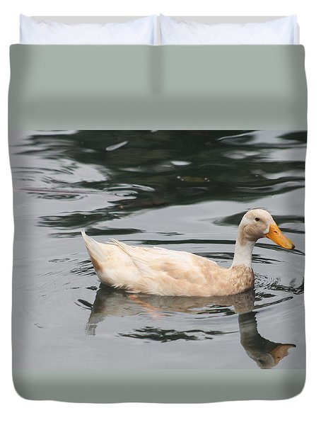 Swimming Duck Duvet Cover by Pamela Walton