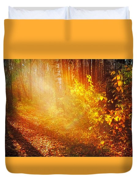 Swimming In Golden Light Duvet Cover by Jenny Rainbow