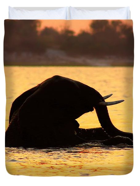 Duvet Cover featuring the photograph Swimming Kalahari Elephants by Amanda Stadther