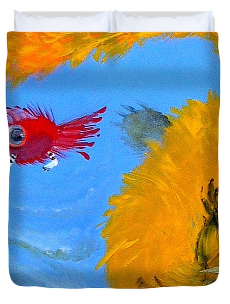 Duvet Cover featuring the painting Swimming Of A Yellow Cat by Marina Gnetetsky