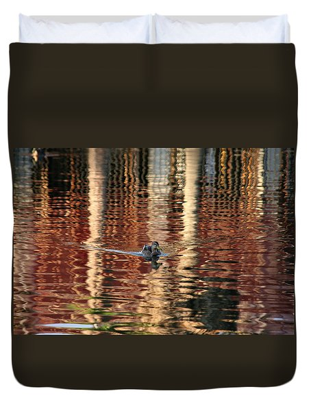 Swimming Over Reflections Duvet Cover