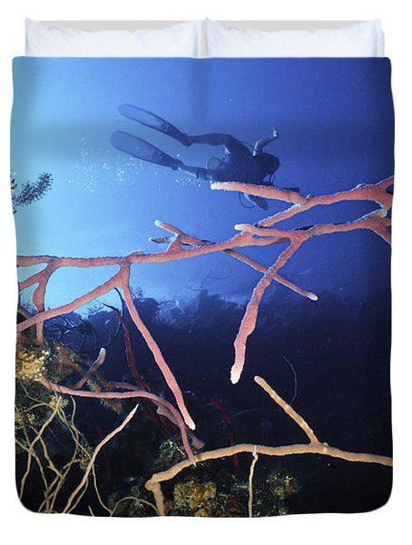 Swimming Over The Edge Duvet Cover