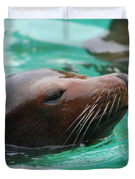 Swimming Sea Lion Duvet Cover by DejaVu Designs