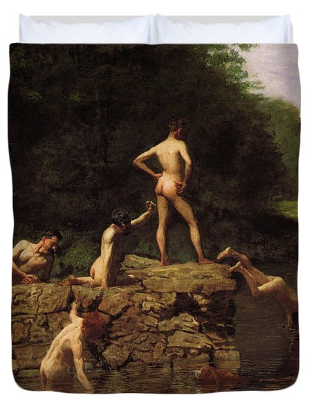 Swimming Duvet Cover by Thomas Eakins