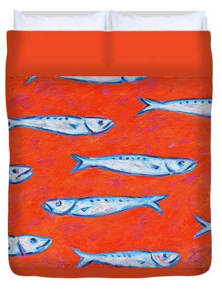 Swimming Upstream Duvet Cover