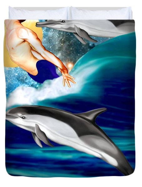 Swimming With Dolphins Duvet Cover