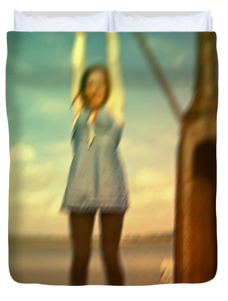 Duvet Cover featuring the photograph Swinging From Lampost  by Craig B