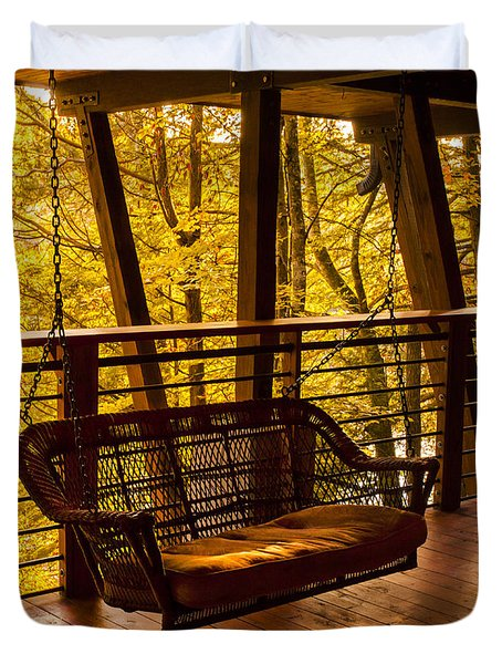 Swinging In Autumn Trees Original Photograph Duvet Cover by Jerry Cowart