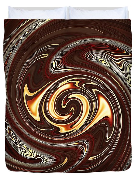 Swirl Design On Brown Duvet Cover by Sarah Loft