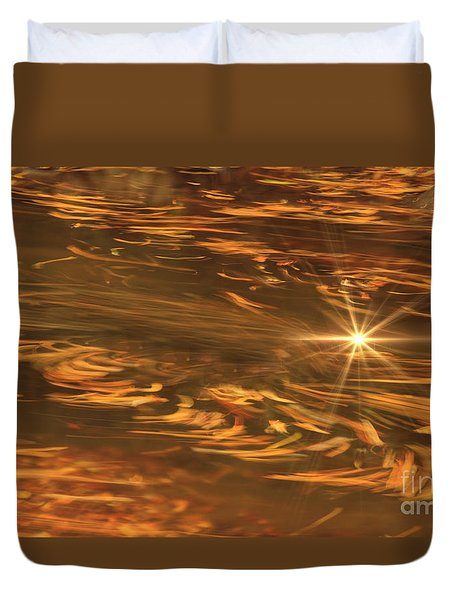 Duvet Cover featuring the photograph Swirling Autumn Leaves by Geraldine DeBoer
