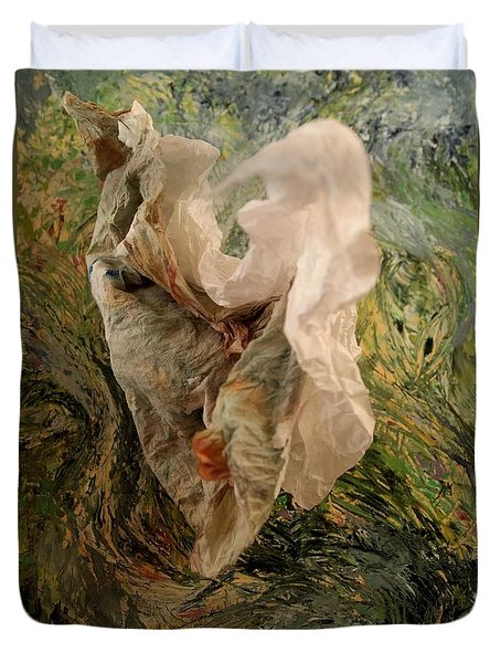 Duvet Cover featuring the mixed media Swirling Figure by Nancy Kane Chapman