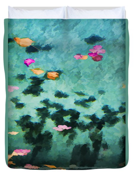 Swirling Leaves And Petals 4 Duvet Cover by Scott Campbell