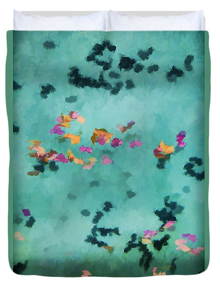 Swirling Leaves And Petals 5 Duvet Cover by Scott Campbell