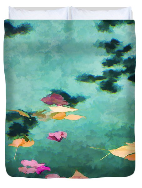 Swirling Leaves And Petals 6 Duvet Cover
