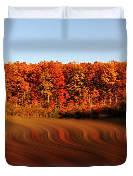 Swirling Reflections With Fall Colors Duvet Cover by Dan Friend